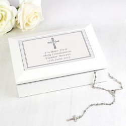 Silver Cross White Wooden Keepsake Box Personalised