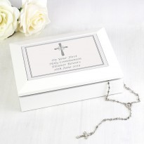 Personalised Silver Cross White Wooden Keepsake Box