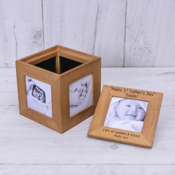 1st Father's Day Oak Photo Cube