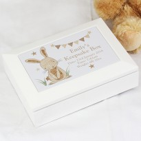 Personalised Hessian Rabbit Wooden Box