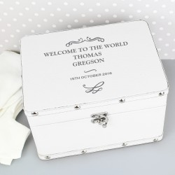 Personalised Antique Scroll White Leatherette Keepsake Box