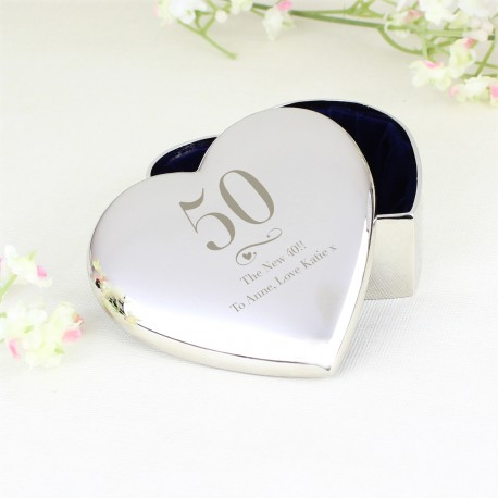 Personalised Birthday Big Age Heart Trinket Box