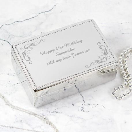 Personalised Swirl Rectangular Jewellery Box