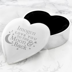Personalised To the Moon and Back... Heart Trinket Box