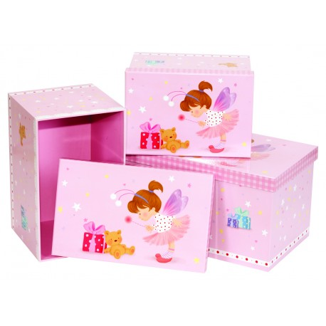 Pink Lace Fairy Design Storage Boxes Set of Three Nested