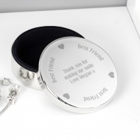 Personalised Best Friend Round Trinket Box
