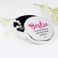 Personalised Bestie Round Trinket Box