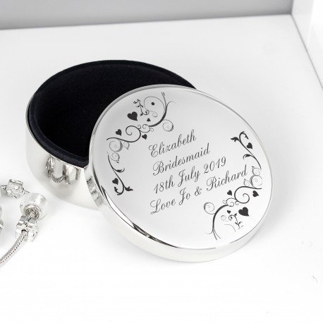 Personalised Black Swirl Round Trinket Box