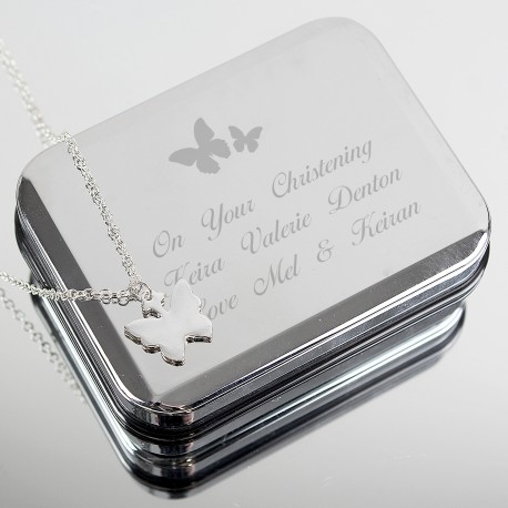 Personalised Butterfly Box and Butterfly Necklace
