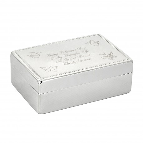 Personalised Butterfly Rectangular Jewellery Box