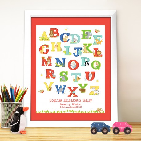 Personalised Animal Alphabet White Framed Poster Print