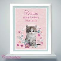 Personalised Rachael Hale Cute Kitten White Framed Poster Print