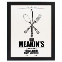 Personalised Cutlery Black Framed Poster Print