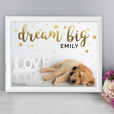 Personalised Rachael Hale Dream Big White Framed Poster Print