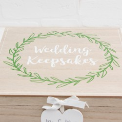 Love Story Wedding Laurel Leaf Design Keepsake Box