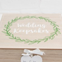 Love Story Wedding Laurel Leaf Design Keepsake Box