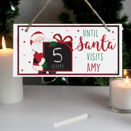Personalised Santa Christmas Chalk Countdown Wooden Sign