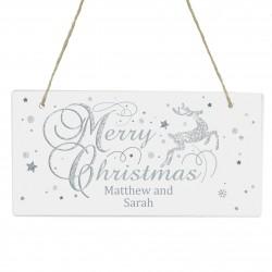 Personalised Silver Reindeer Wooden Sign