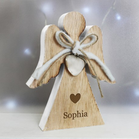 Personalised Heart Motif Rustic Wooden Angel Keepsake