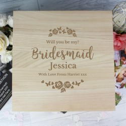 Personalised Bridesmaid Large Wooden Keepsake Box 'Floral Watercolour Wedding'