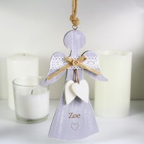Personalised Hearts Wooden Angel Decoration & Keepsake