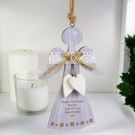 Personalised Snowflake Wooden Angel Decoration & Keepsake