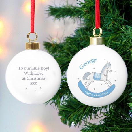 Personalised 1st Christmas Blue Rocking Horse Bauble