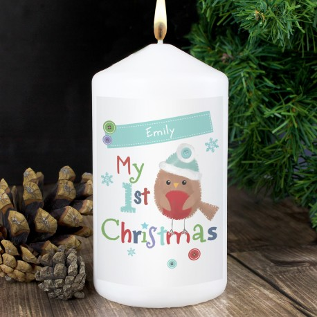 Personalised Felt Stitch Robin 'My 1st Christmas' Candle