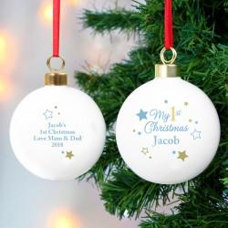 Personalised Gold & Blue Stars My 1st Christmas Bauble & Keepsake