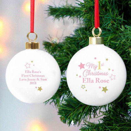 Personalised Gold & Pink Stars My 1st Christmas Bauble Keepsake