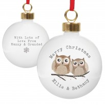 Personalised Woodland Owl Christmas Bauble & Keepsake
