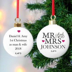 Personalised 'Mr & Mrs' Ceramic Christmas Bauble & Keepsake