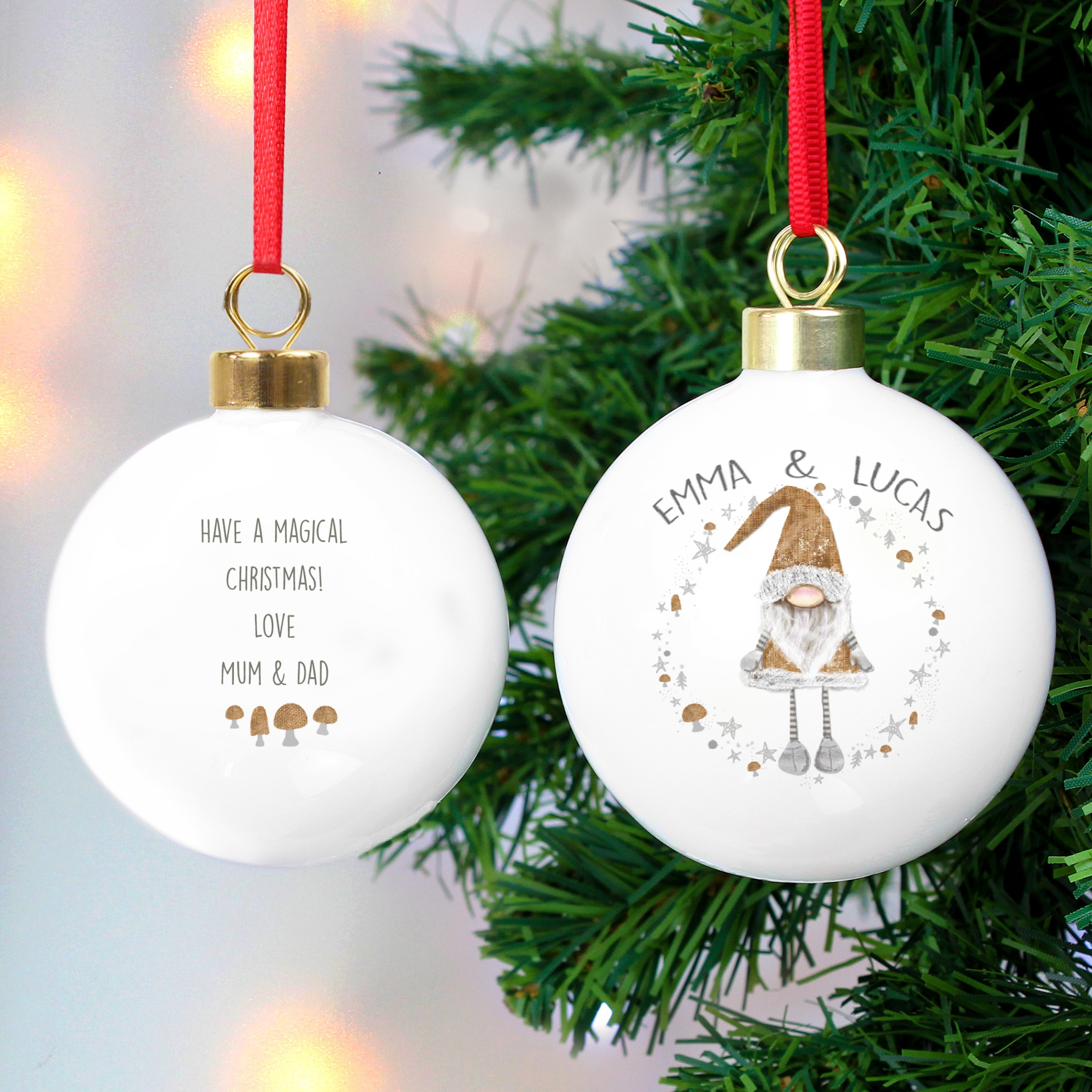 Scandinavian Christmas.Personalised Scandinavian Christmas Gnome Ceramic Bauble Keepsake