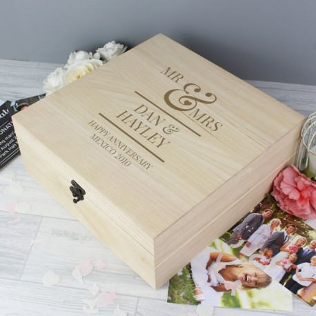 Personalised Mr & Mrs Large Wooden Keepsake Box