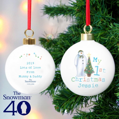Personalised The Snowman My 1st Christmas Bauble & Keepsake
