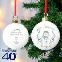 Personalised The Snowman Winter Garden Bauble & Keepsake