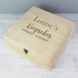Personalised Floral Large Wooden Keepsake Box