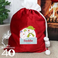 Personalised The Snowman and the Snowdog Luxury Pom Pom Christmas Sack