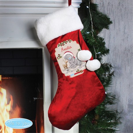 Personalised Me to You Reindeer Luxury Christmas Stocking