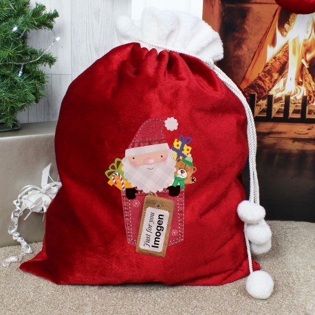 Personalised Santa Claus Luxury Christmas Pom Pom Sack
