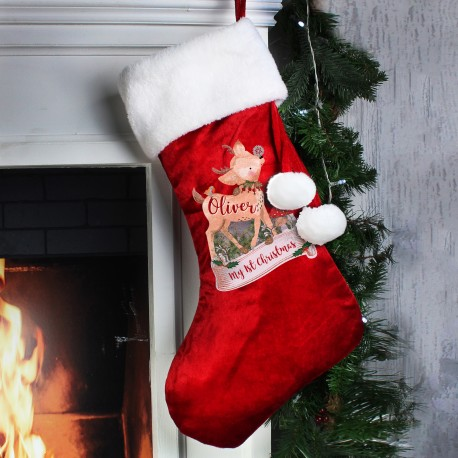 Personalised Festive Fawn Luxury Christmas Stocking