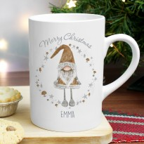 Personalised Scandinavian Christmas Gnome Slim Mug