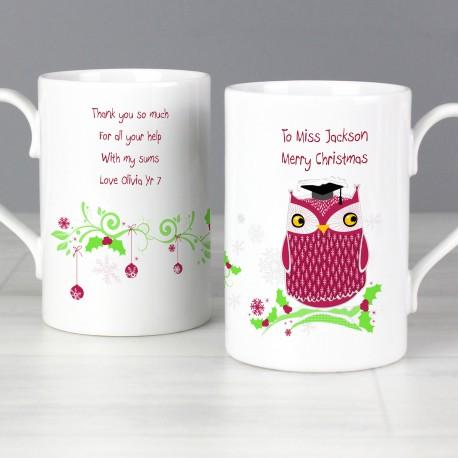 Personalised Christmas Owl Teacher Slim Mug