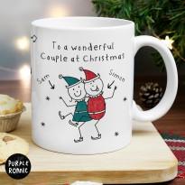 Personalised Purple Ronnie Christmas Elves Mug