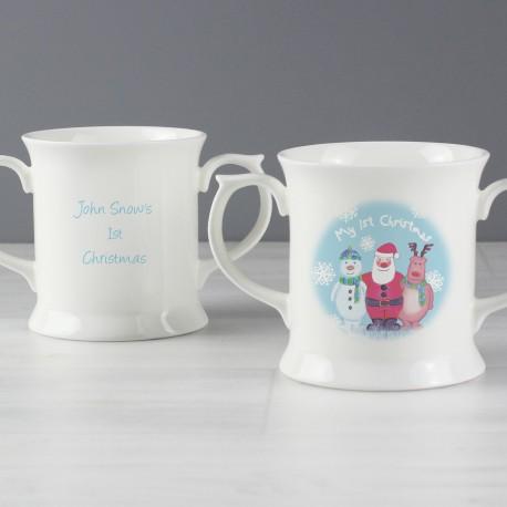 Personalised Snow Scene 1st Christmas Loving Mug