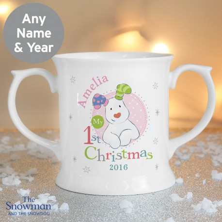 Personalised The Snowman and the Snowdog My 1st Christmas Pink Loving Mug