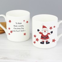 Personalised Spotty Santa China Mug