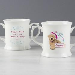 Personalised Teddy 1st Christmas Loving Mug