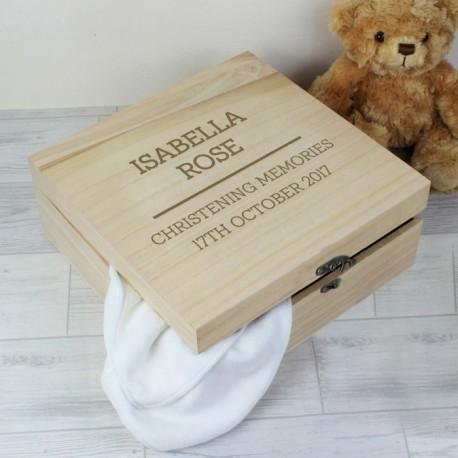 Personalised Christening Large Wooden Keepsake Box