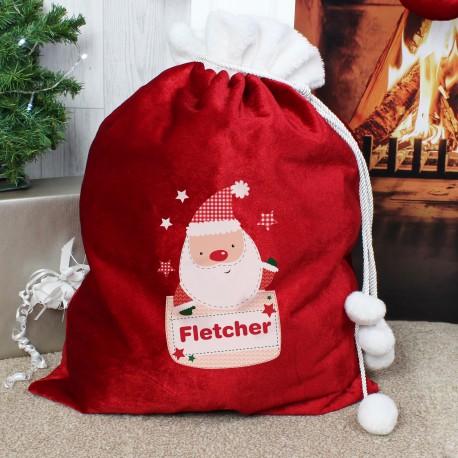 Personalised Pocket Santa Luxury Pom Pom Christmas Sack